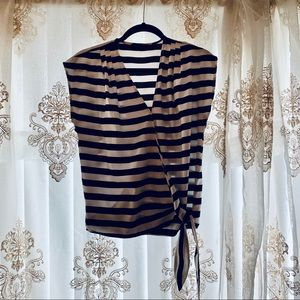 Limited Black and White Striped Wrap Blouse 🖤